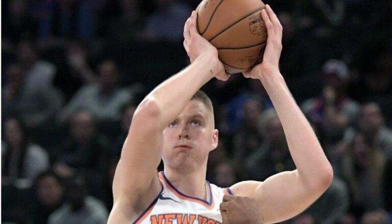 Porziņģis labo NBA karjeras tālmetienu rekordu un panāk Biedriņu gūto punktu ziņā