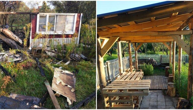 Lai zagļiem vairs neniezētu nagi: kā nodegušas dārza mājiņas vietā tika uzcelta jauna lapene