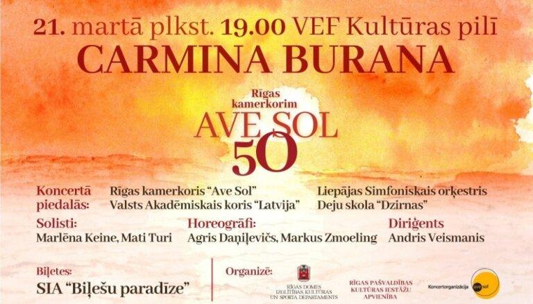 Rīgas kamerkoris  Ave Sol  50 gadu jubilejā aicina uz Karla Orfa oratorijas  Carmina burana  atskaņojumu