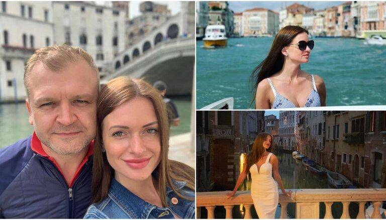Foto: Miljonārs Oļegs Fiļs ar mīļoto Kristīni bauda romantiku Venēcijā
