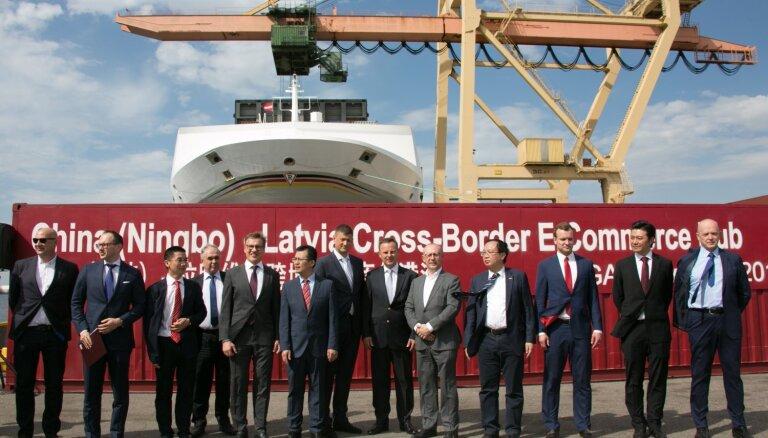 Nosūtot pirmo konteineru no Rīgas ostas, darbu uzsāk Ķīnas – Latvijas pārrobežu e-komercijas centrs