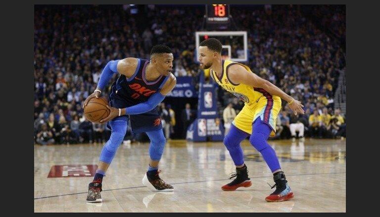 Durants un Karijs palīdz 'Warriors' pārspēt 'Thunder'