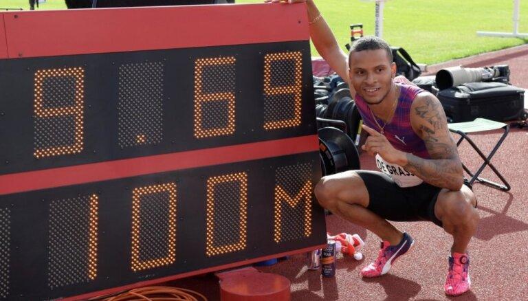 De Grase ar pavēju Dimanta līgas etapā 100 metrus noskrien 9,69 sekundēs