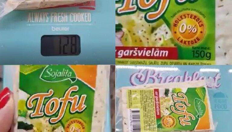 Video: Sieviete sašutusi par lielveikalā nopirktā tofu svara neatbilstību uz iepakojuma norādītajam