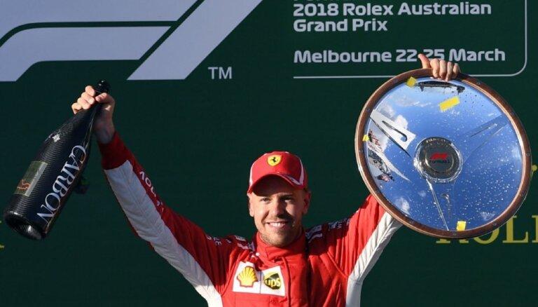 Fetels Austrālijā izcīna uzvaru sezonas pirmajā F-1 posmā