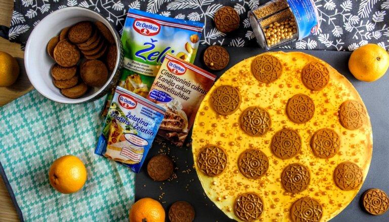 Foto recepte: Piparkūku un mandarīnu siera kūka bez cepšanas