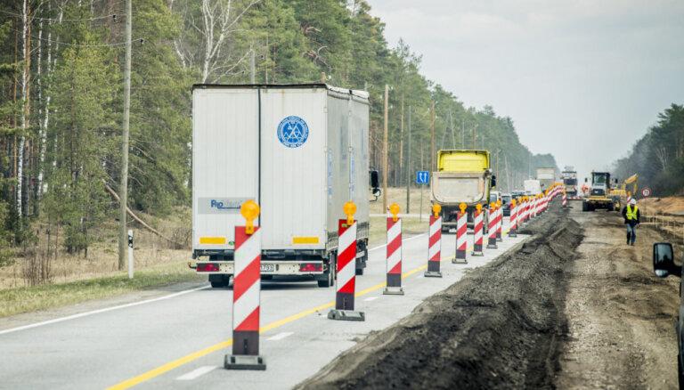 Foto: Vidzemes šosejas Sēnītes posma remonta dēļ satiksme katrā virzienā notiks pa vienu joslu