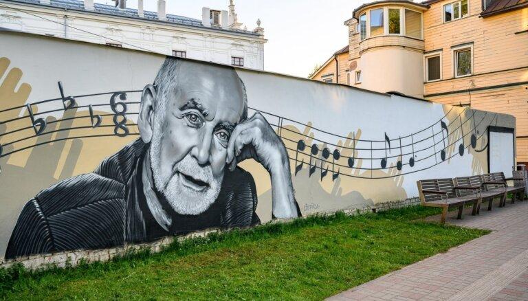 ФОТО: В Лиепае появилось граффити в честь юбилея Иманта Калниньша