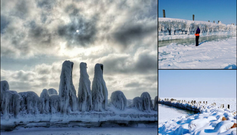 ФОТО. Фантастически красивые трехметровые ледовые торосы на берегу Рижского залива