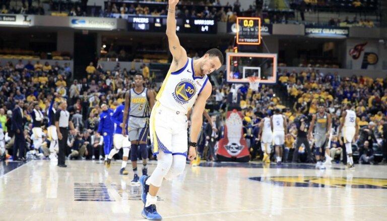 Karijs ar NBA rekordu turpina 'Warriors' uzvaru sēriju