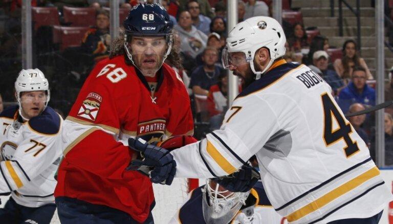 Girgensons un 'Sabres' piekāpjas 'Panthers'; Jāgrs kļūst par NHL otro rezultatīvāko spēlētāju