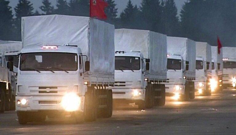Krievijas humānās palīdzības konvojs Ukrainas robežu šķērsos Harkovas apgabalā