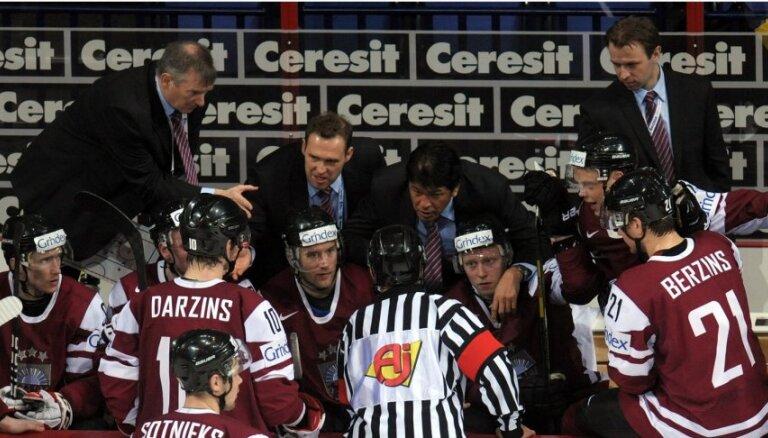 Latvijas hokeja izlase pēc zaudējuma Vācijai atceļ šodienas rīta treniņu