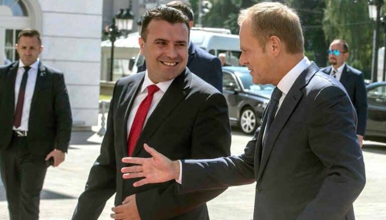 Tusks mudina uzsākt iestāšanās sarunas ar Ziemeļmaķedoniju
