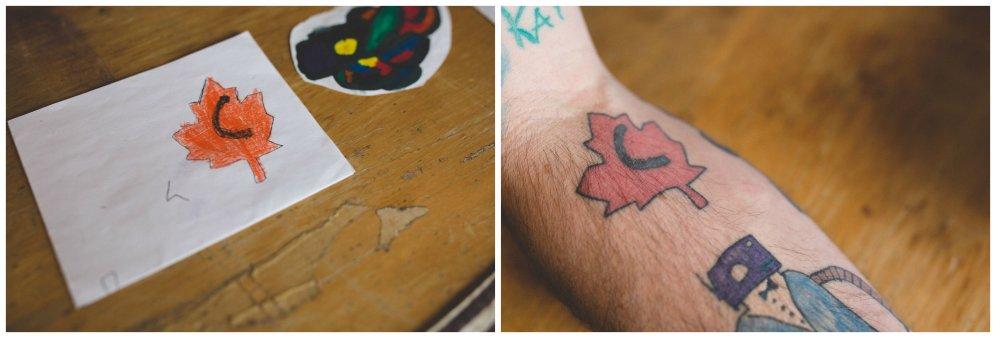 Tēvs atrāda tetovējumus, ko zīmējis viņa piecgadīgais dēls